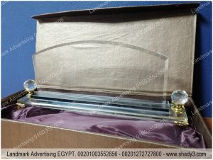 Crystal stand with Cardboard box ستاند مكتب كريستال